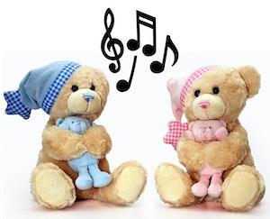 Gosedjur Nallebjörn med Teddy och spelande musik. Fr Födseln