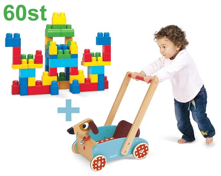 Lära gå Hund vagn och 60 delar Stora Byggklossar. Från 1år+