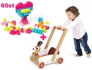 Lära gå Kanin vagn och 60 delar Stora Byggklossar. Från 1år+