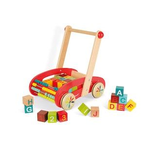 Lära gå vagn med 30 Bokstäver och siffror Byggklossar från Janod®. Från 1år+