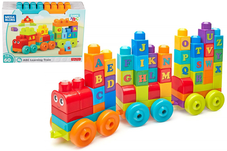 60 delar Tåg ABC Lärande Byggklossar modell  fr Mega Bloks 1år+