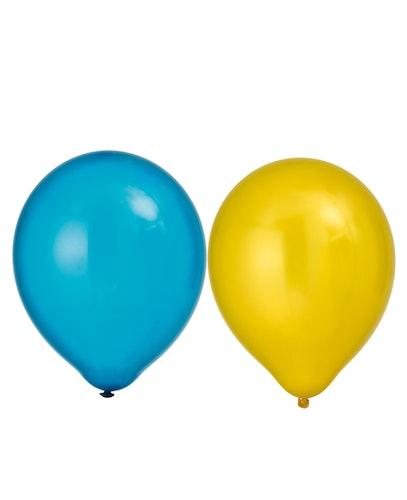 8-pack ballonger blå- & gul metallic