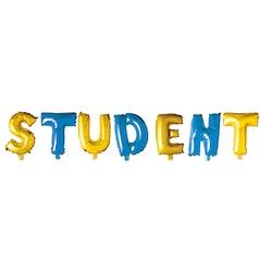 """Folieballong """"STUDENT"""" gul- och blå"""