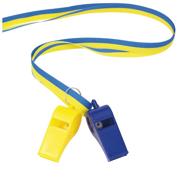 Visselpipor i band blå/gul, 2-pack