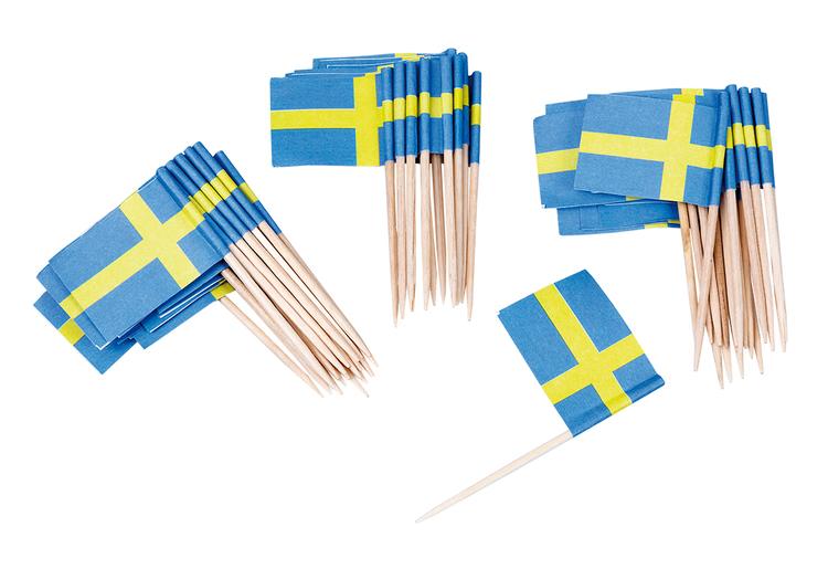 Coctailflaggor svenska flaggan, 50st