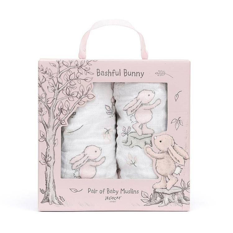 Bashful pink bunny - 2 pack muslin filtar