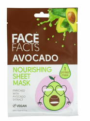 Avocado Hydrating Nourishing Printed Sheet Mask Face Facts Vegan