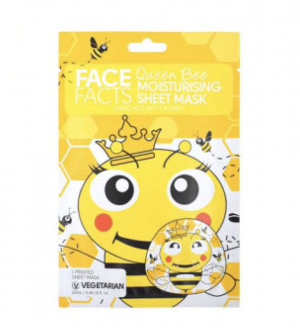 Face Facts Queen Bee Moisturising Printed Sheet Face Mask 20ml