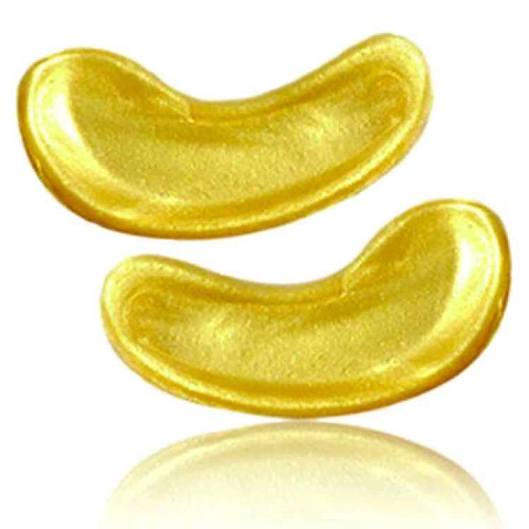 Två guldplåster mot påsar under ögonen utan förpackning.