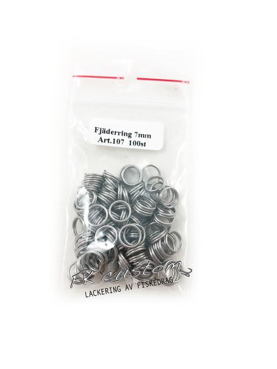 Fjäderringar rostfritt stål-100 st, 7mm