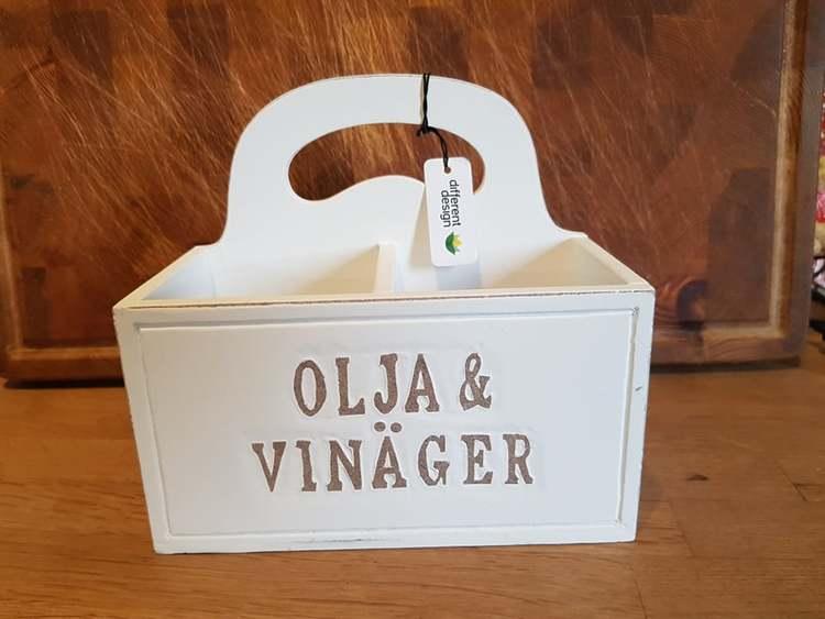 "Trälåda med text ""Olja & Vinäger"" Different Design"