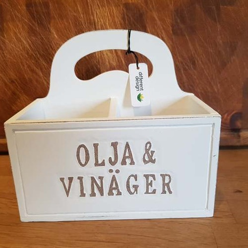 "Trälåda med text ""Olja & Vinäger"" Different Design"