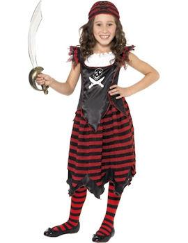 Pirattjej Gothisk med Dödskallemotiv Barn Maskeraddräkt