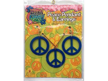 Peace set Halsband och öronhängen Blå Maskerad