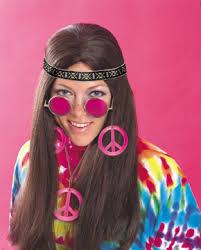 Peace set Halsband och öronhängen Rosa Maskerad