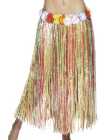 Hawaiikjol lång med Blomsterkrans runt midjan Maskeradkläder