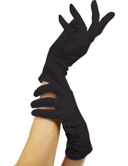 Korta svarta handskar Maskerad