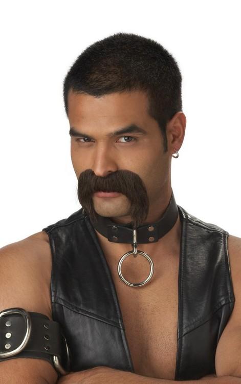 Läder pappa med brun Mustach