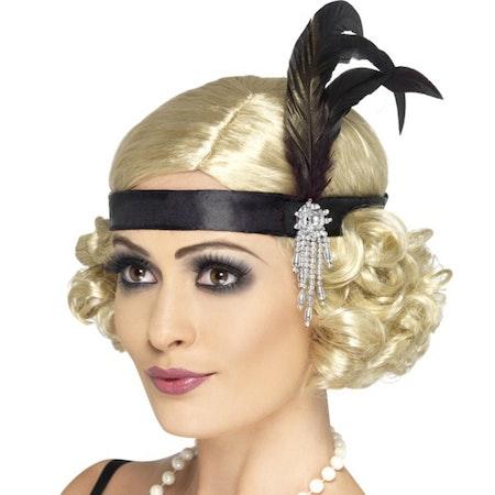 Charleston hårband i satin med smycke och fjäder