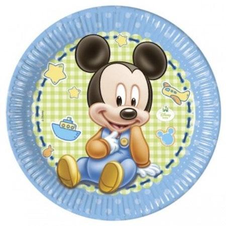 Disney Musse Pigg Mickey Mouse blå tallrik 8-pack