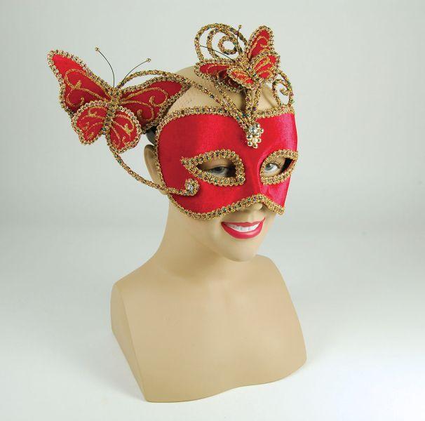 Röd ögonmask med fjärilar