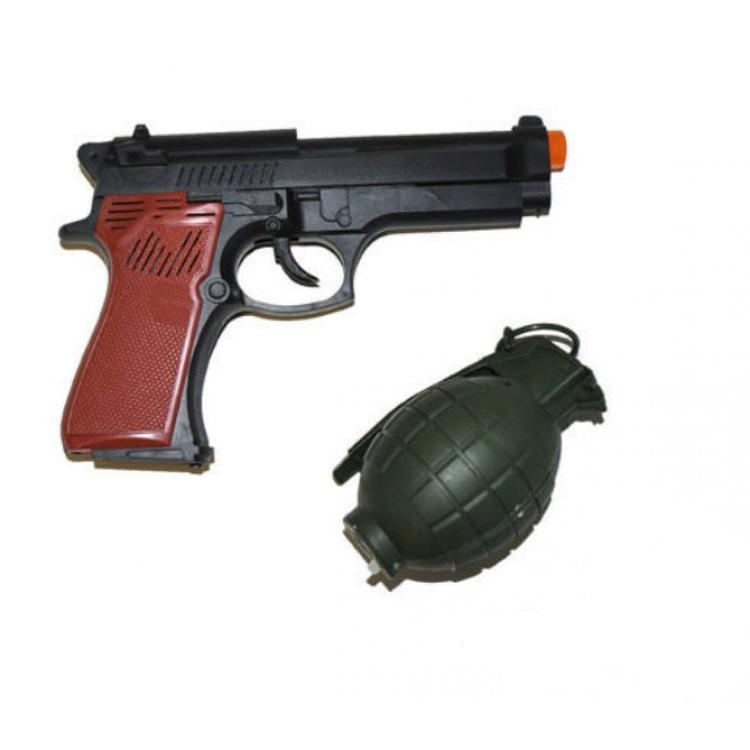 Pistol och granat med ljud