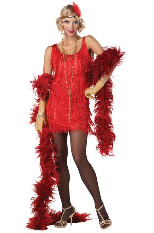 Flapper Röd Charlston 20-tal Maskeradkläder