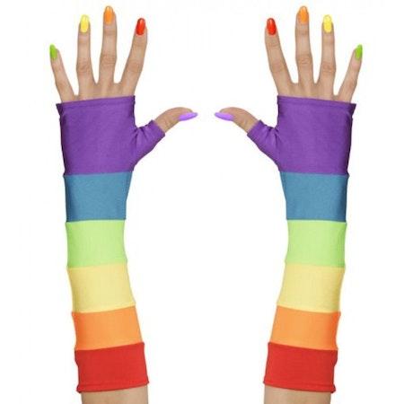 Pride Multifärgade fingerlösa handskar Maskerad