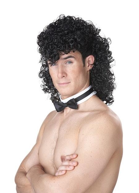 Manliga Strippa Svart Peruk och Fluga