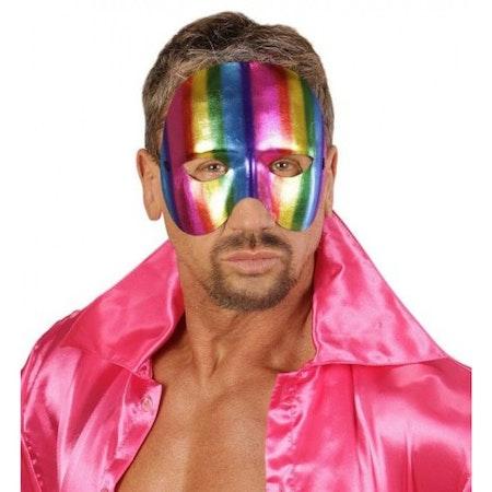 Multifärgad halv ansiktsmask Maskerad Pride