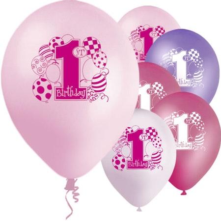 Rosa 1 års ballonger 8 pack