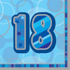 Blå 18 års servetter 16-pack