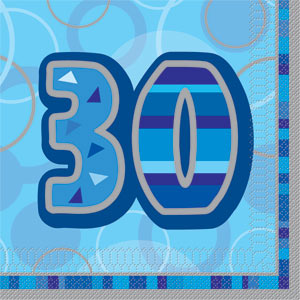 Blå 30 års servetter 16-pack