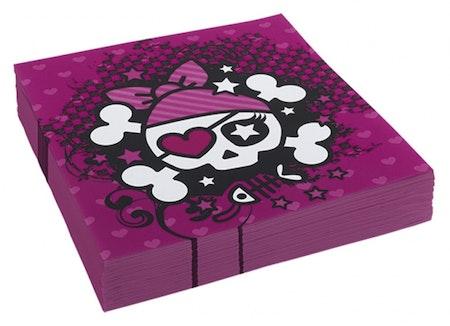 Rosa pirat servetter 20-pack