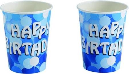 Blå födelsedags muggar 8-pack