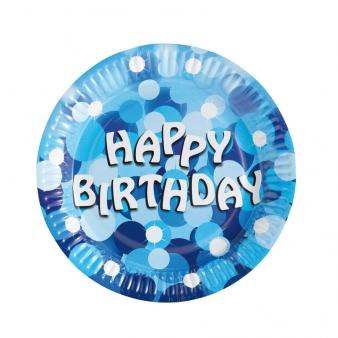 Blå födelsedags tallrikar 8-pack