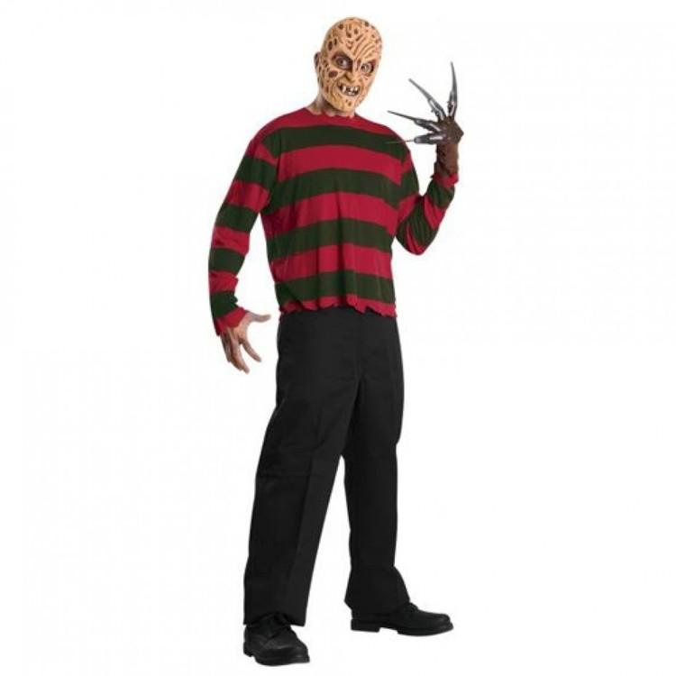 Freddy Krueger Tshirt och ansiktsmask Maskeraddräkt Halloween