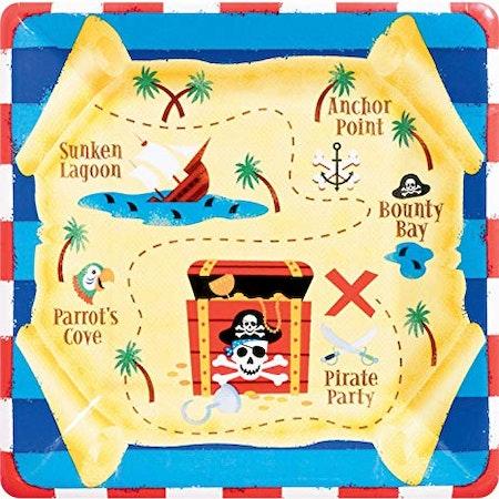Skattjakt Pirat assietter tallrikar