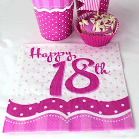 18 års servetter rosa 18-pack