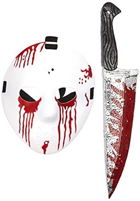 Jason ansiktsmask och kniv Fredag den 13:e Halloween Maskerad