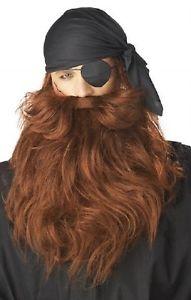 Pirat Skägg med Mustasch Röd