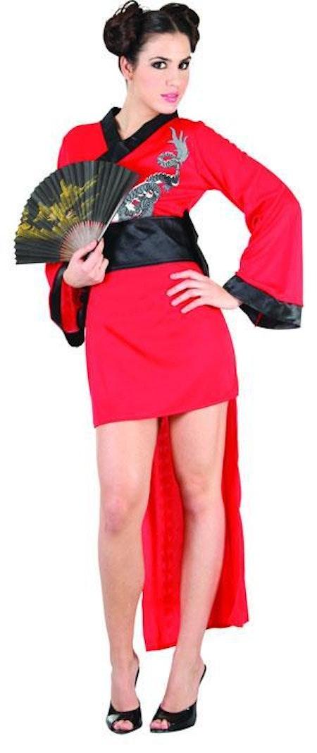 Röd Orientalisk Jungfru Ninja Maskeraddräkt