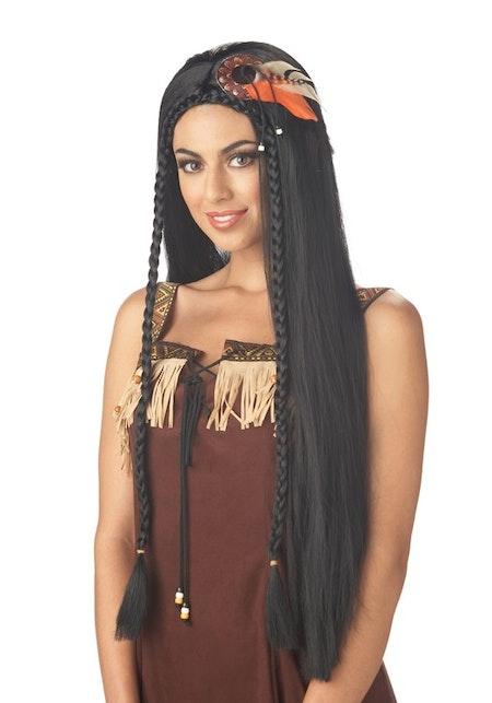 Prinsessa Långt svart hår Peruk