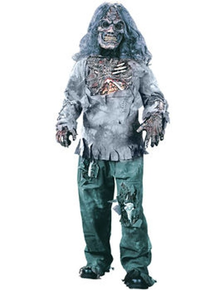 Zombie Brännskadad Tröja Byxa Handskar Mask med Hår Maskeraddräkt Barn