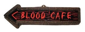 Blod cafe skylt