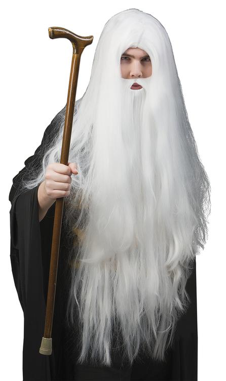 Trollkarl peruk och skägg