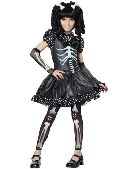 Skelettklänning med handskar, leggings, clips Maskeraddräkt Barn
