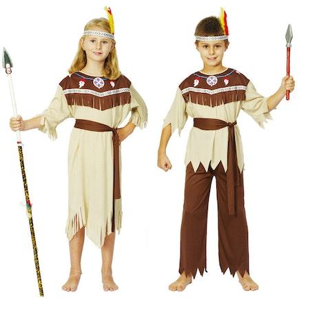 Indiankrigare Flicka och Pojke barn Maskeraddräkt