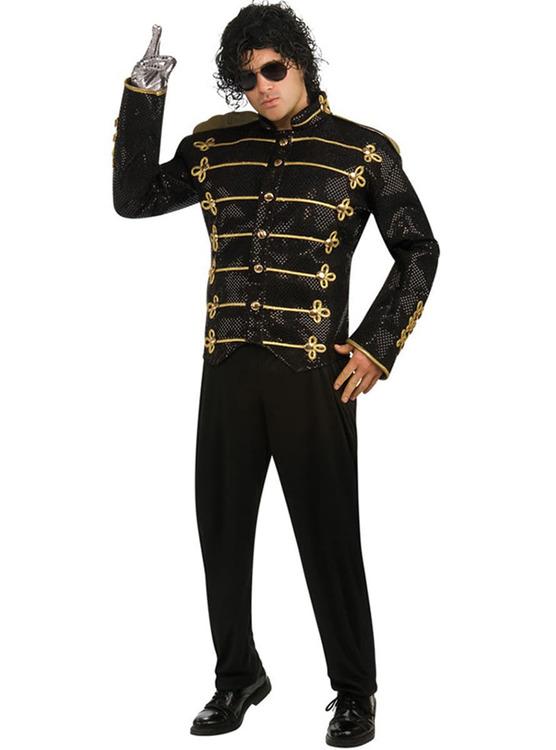 Michael Jackson Deluxe militär paljettjacka med guldklädsel Maskerad