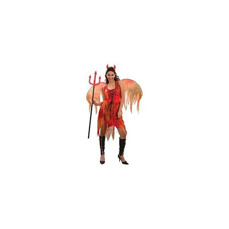 Djävulsklänning med vingar Devil Fairy Maskeraddräkt Halloween